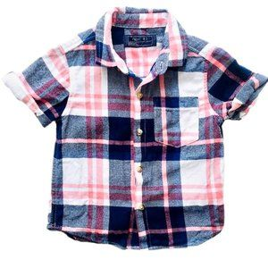 NEXT Coral and Blue Plaid Button Down Shirt